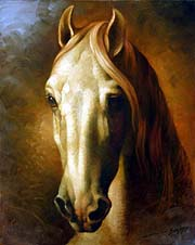 Arthur Braginsky - Head of a White Horse 50x40, oil on canvas, 2005