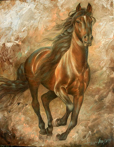Running horse 90x70, oil on canvas, 2009