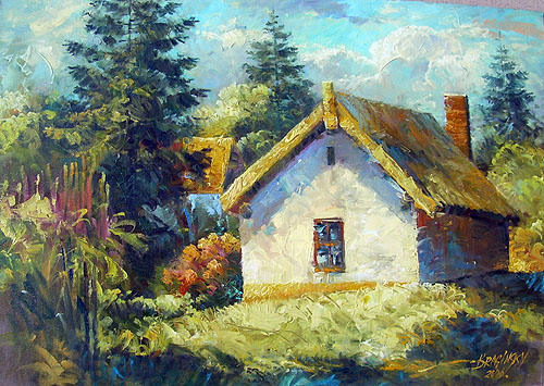 Arthur Braginsky - Lanscape Small house in village 70x50, oil on canvas, 2006