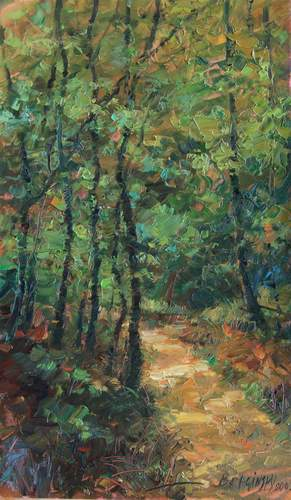 Arthur Braginsky - Road to wood 50х30 cm, oil on panel, 2010