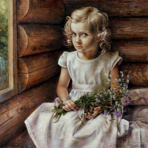 Arthur Braginsky - Girl With Wild Flowers, 60x60 cm, oil on canvas, 2013